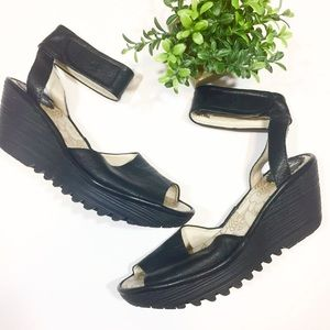 Fly London Leather Ankle Strap Platform Wedges